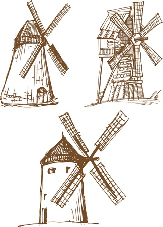 wind mills: Set of hand drawn sketchers old mills