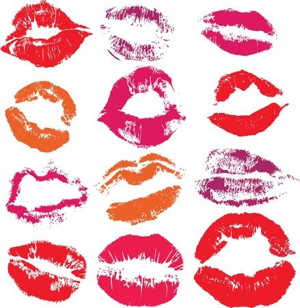 kiss lips: Conjunto de los labios de impresi�n beso aislado