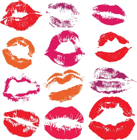 Set of print lips kiss isolated