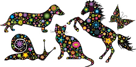 cat toy:  Set of silhouettes animals made from flowers and stars Illustration