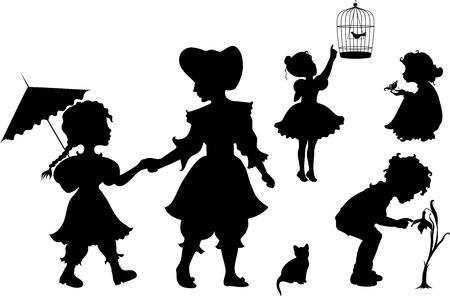 kind silhouet: Set van retro silhouetten kinderen Stock Illustratie