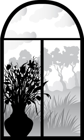 silhouette of retro window with vase of flowers Vector