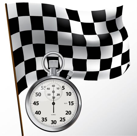 checker: Checkered flag and stopwatch