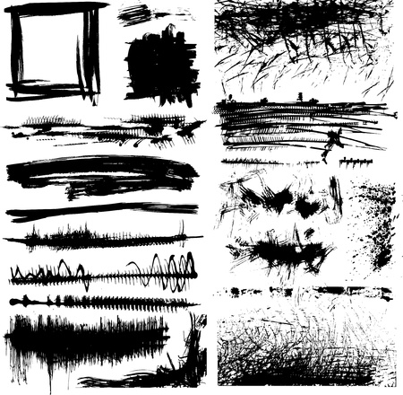 border line: set of black and white grunge paint stains