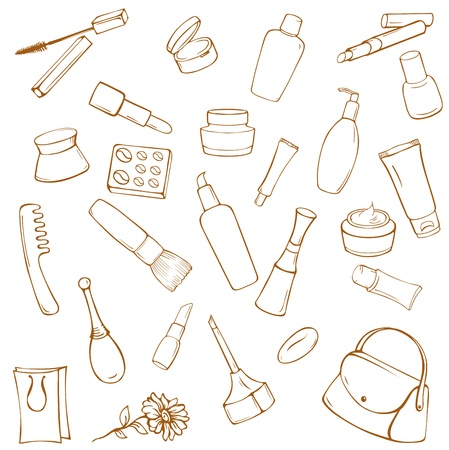 Set of various cosmetic items on white background Illustration