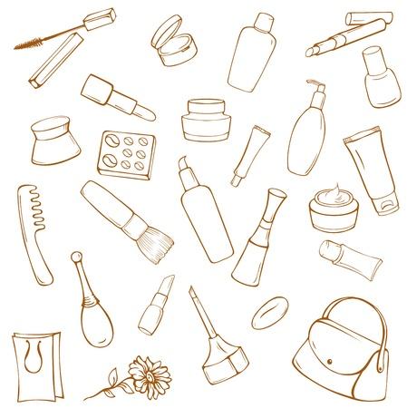 eyeliner: Set of various cosmetic items on white background Illustration