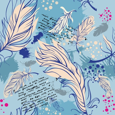 seamless composition with feathers Vector