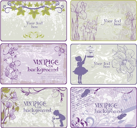 Set of vintage  backgrounds in pastel coloring Stock Vector - 13335640