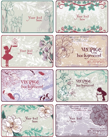 Set of vintage  backgrounds in pastel coloring Vector