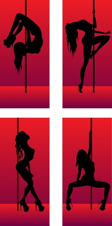 set of silhouettes striptease dancing girls Stock Vector - 13468990