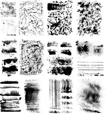 textuur: Set van verschillende grunge texturen Stock Illustratie