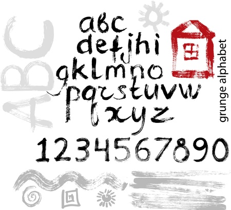 Hand drawn grunge alphabet, numbers and elements for design Vector