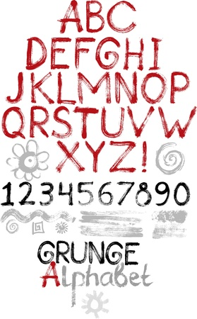 script: Hand drawn grunge alphabet, numbers and elements for design