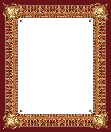 Luxury golden decorative frame with pronounced corners Stock Vector - 13787764