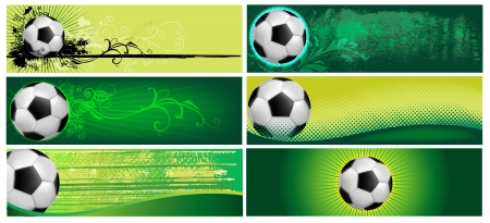 Set of six football backgrounds in green coloring Vector