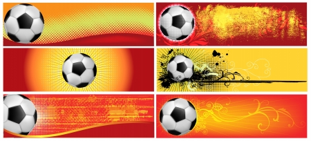Set of six football backgrounds in red coloring 版權商用圖片 - 13787766