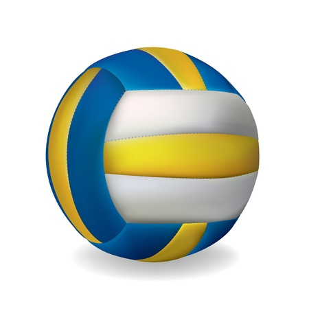 blue and yellow volleyball ball isolated over white