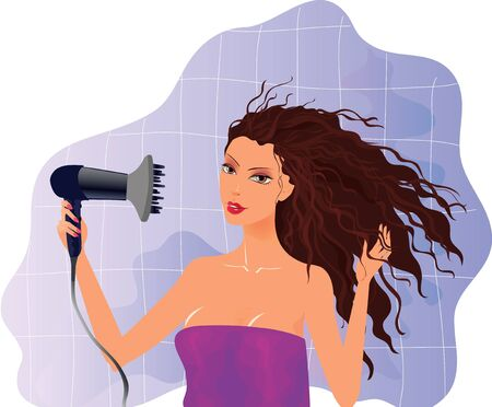 Vector illustration of beautiful brunette girl with hairdryer  Stock Vector - 13957501