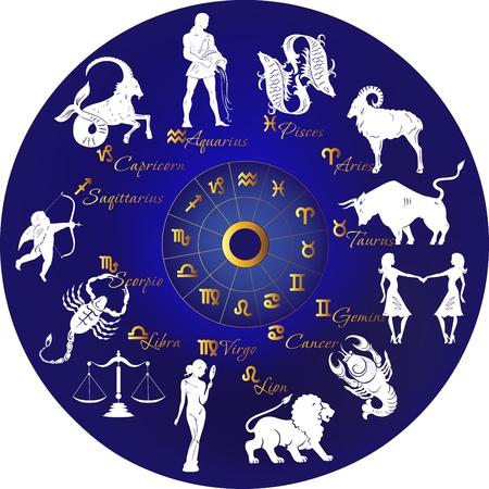 jungfrau: Zodiac mit Sternbildern und Zeichen Illustration