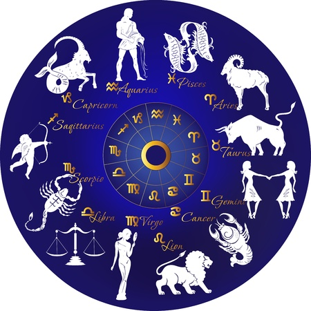 Zodiac with constellations and signs Vector