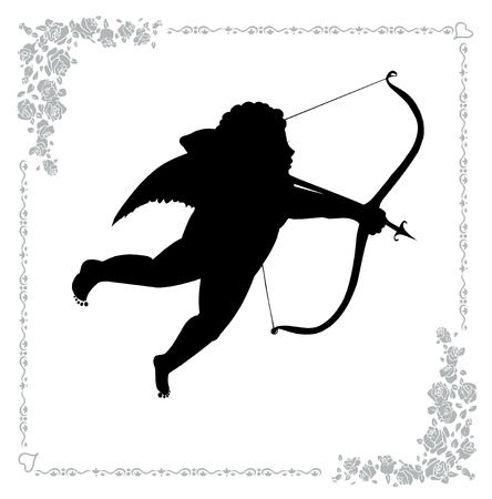 Illustration Silhouette of cupid with an arrow on white Vector
