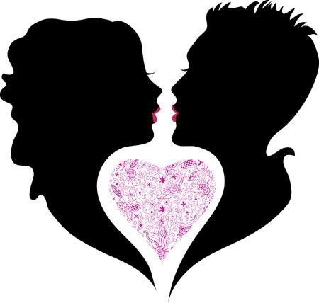 silhouet van jongen en meisje in de liefde Vector Illustratie