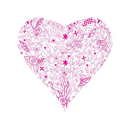 Illustration of pink floral  hand drawn heart shape on white Vector
