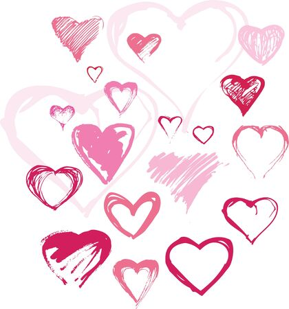 Set of different hand drawn hearts in pink colour Vector