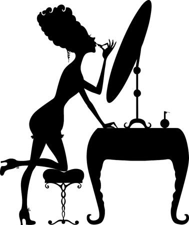 ladenkast: Silhouet van een retro meisje met lippenstift op de spiegel