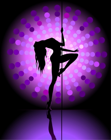 Silhouette of young beautiful woman dancing a striptease Illustration