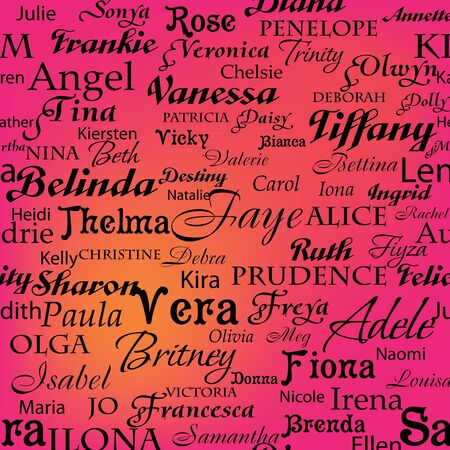 names: Seamless pattern with women s names Illustration