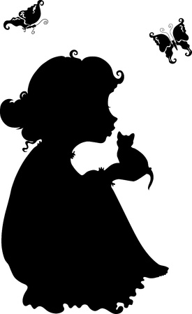 silhouette of a little girl with a kitten in her arms on a white background Vector