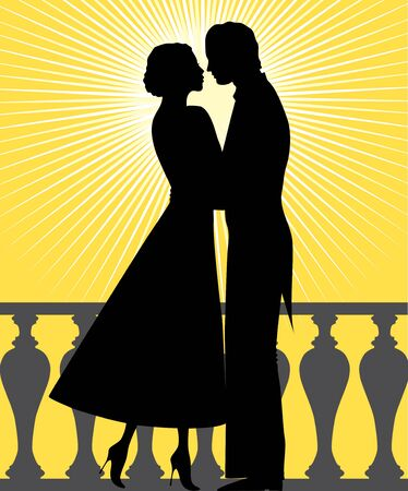 illustration silhouette of man and woman in love Vector