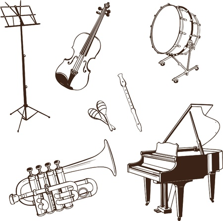 Set of musical Instruments in dark contour Vector
