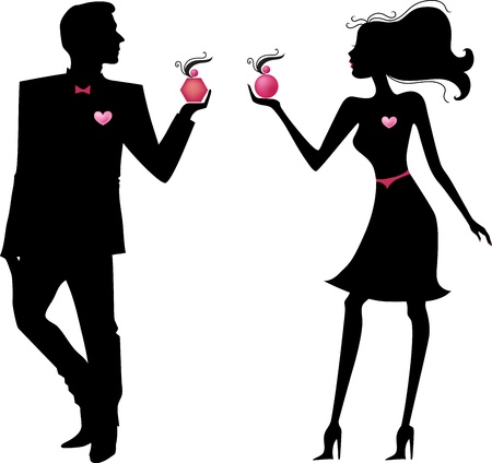 Silhouette of man and woman with parfums Vector