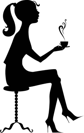 woman drinking coffee: Silhouette of a girl with a coffee