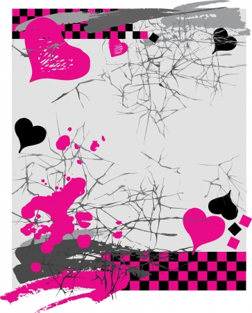 vetor: Illustration  with hearts, cracks and checkerboard pattern