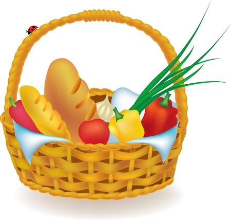 mimbre: ilustración de mimbre cesta de picnic con comida aislados