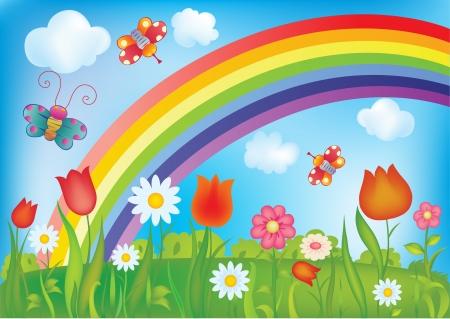 cartoon rainbow: paisaje de verano con el arco iris, mariposas y flores