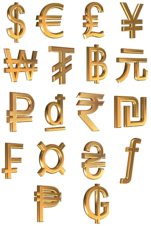 Golden icons of world currencies isolated