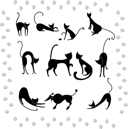 Collection illustrations silhouettes of black cats Vector