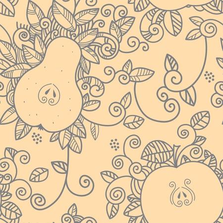 梨: リンゴと梨のシームレスなパターン