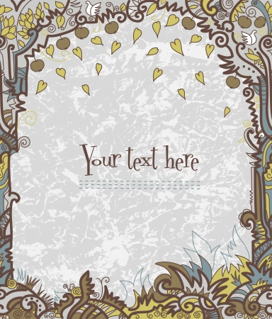 Frame with decorative hand drawn tree Stock Vector - 14225416