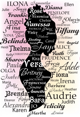Woman silhouette made from names and letters