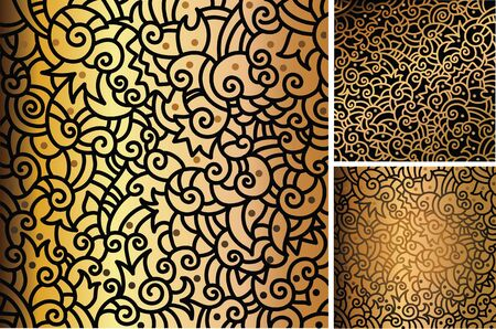Set of hand drawn gold patterns Stock Vector - 14225403