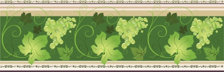 footer: horizontal border with decorative vines and leaves in green coloring