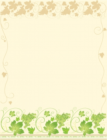 grapes on vine: Frame with decorative vines and leaves in green coloring Illustration
