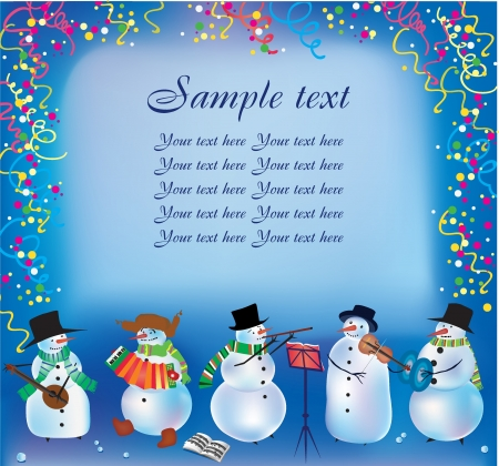 X mas background with snowmen playing music Stock Vector - 14225387