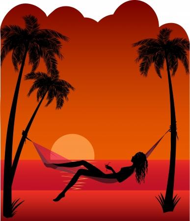 夕日のハンモック ビーチで休んで美しい少女