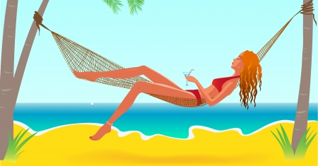 beach sunset: Beautiful girl resting on the beach in hammock Illustration